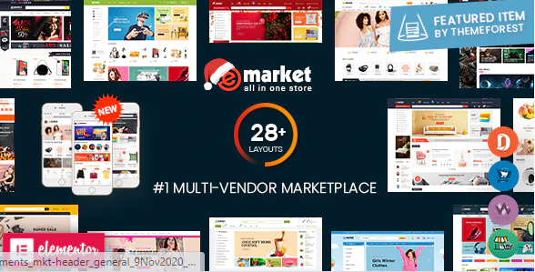 eMarket - Multi Vendor MarketPlace Elementor WordPress Theme (28+ Homepages & 3 Mobile Layouts)