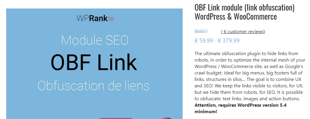 OBF Link module (link obfuscation) WordPress & WooCommerce