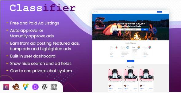 Classifier, classified ads WordPress directory listing plugin