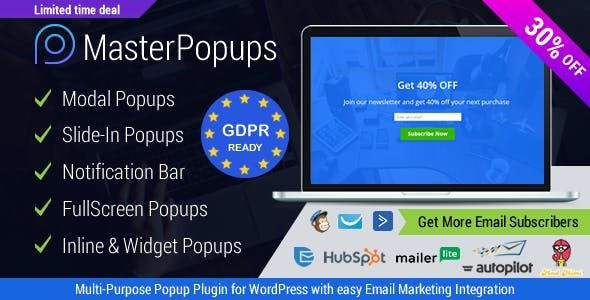 Master Popups for Email Subscription  3.7.5