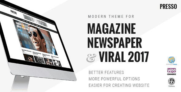PRESSO - Modern Magazine / Newspaper / Viral Theme  3.3.4